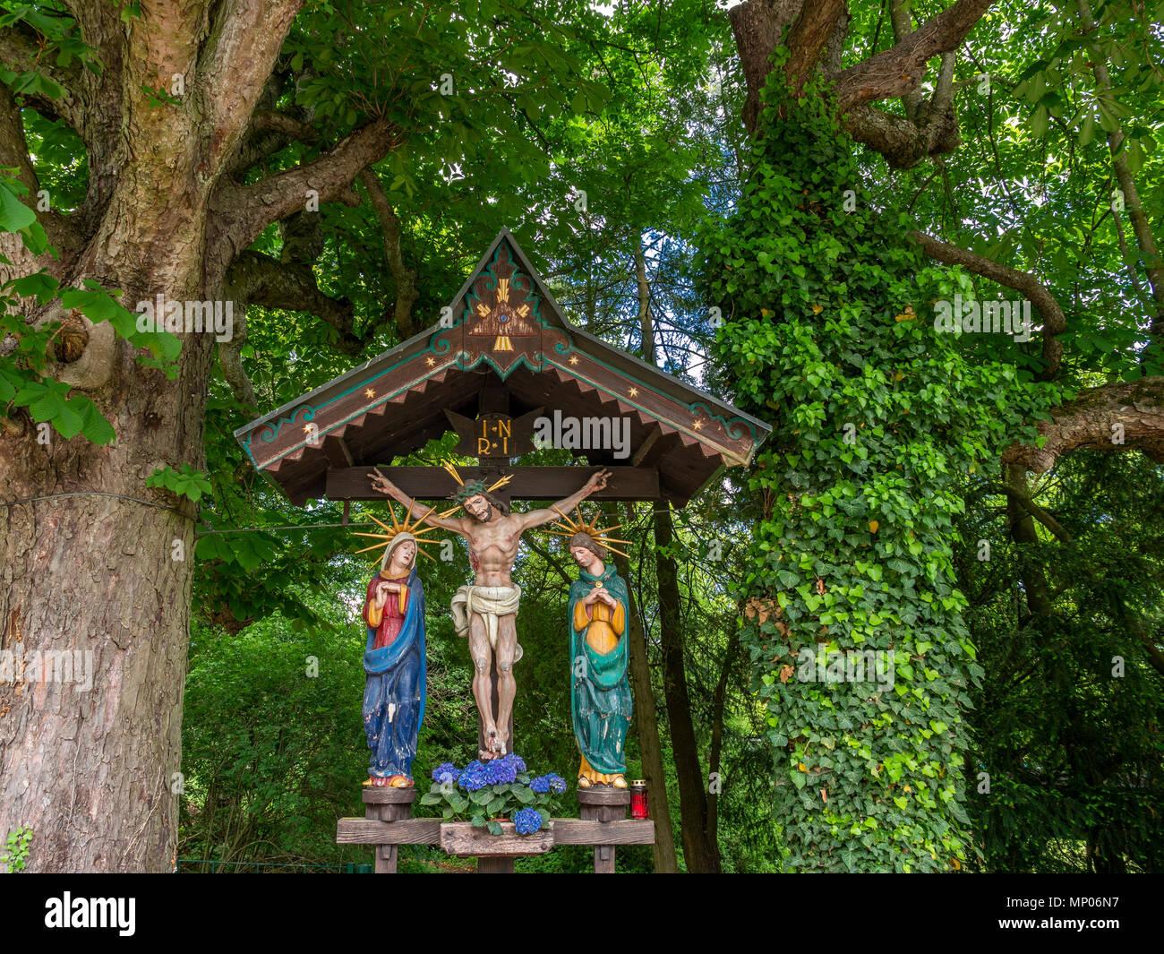 Bildstock, Kruzifix, im Schloss Orth, Gmunden, Salzkammergut, Oberösterreich, Österreich, Österreich Stockbild
