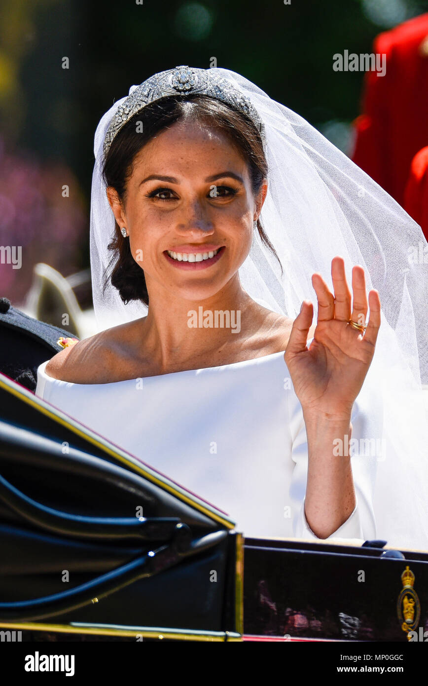 Meghan Markle während der Beförderung Prozession nach der ...