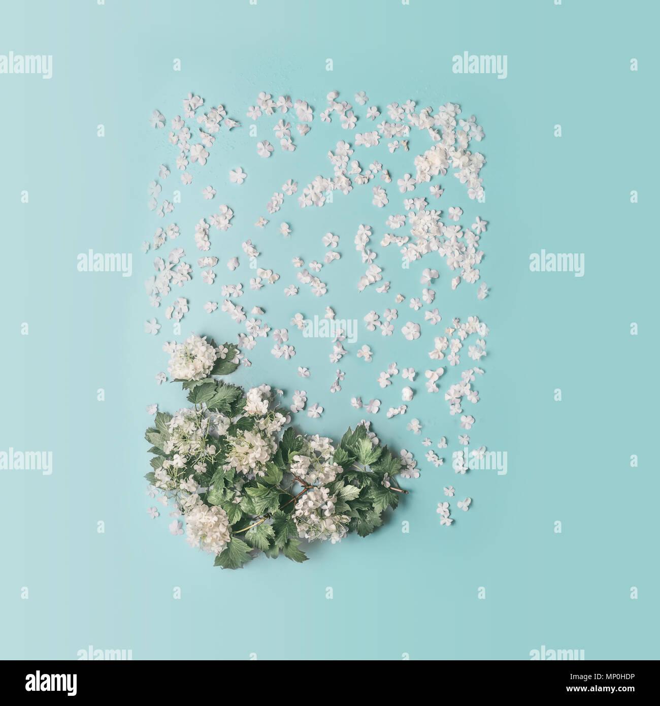 Kreative Florale Layout Mit Weissen Blumen Und Bluten Fruhjahr