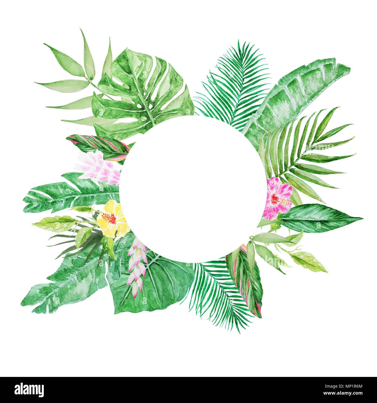 Palmenblättern runden Rahmen. Aquarell bunter Konzept der Dschungel ...