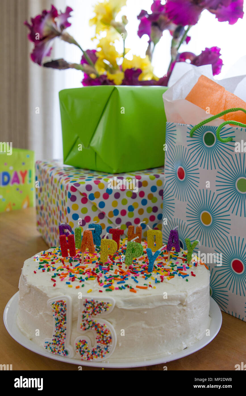 Colorful Birthday Cake Letters Stockfotos Colorful Birthday Cake