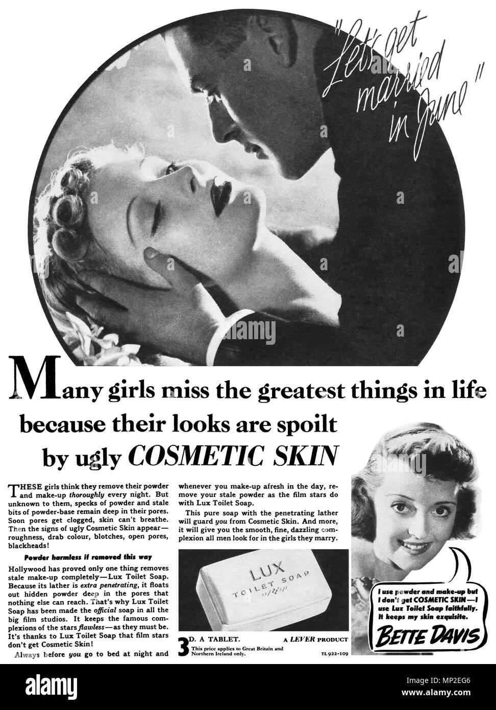 1938 britischen Werbung für Lux Seife, mit Schauspielerin Bette Davis. Stockbild