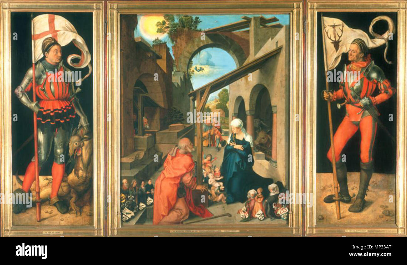 Dürer, Albrecht (1471-1528) Paumgartner-Altar. Totale. 1504 (?). Der hl. Georg, sterben, Geburt Christi, der hl. Eustachius. Lindenholz, 157 x 248 cm. München, Alte Pinakothek 858 Dürer, Albrecht - Madonna und Kind-C. 1500 Stockbild