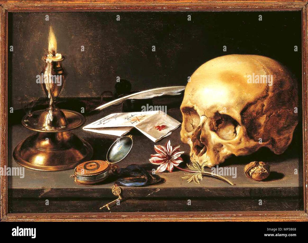 Vanitas - Still Life 1625. 991 Pieter Claeszoon - Vanitas - Still Life (1625, 29,5 x 34,5 cm) Stockfoto