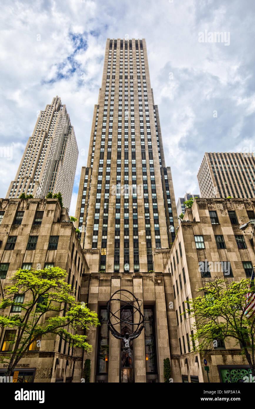 Das Rockefeller Center in New York City, USA. Stockbild
