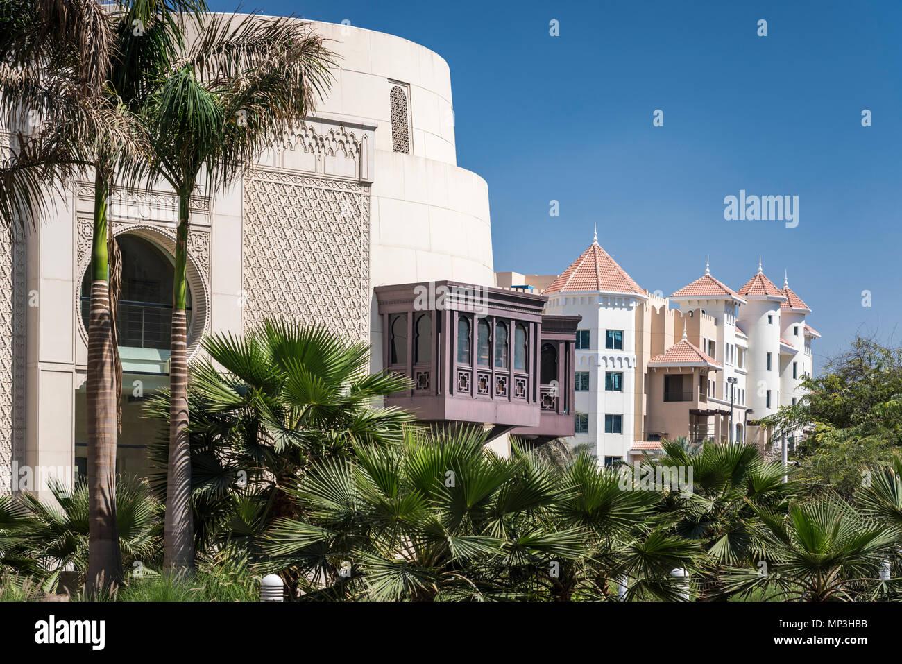 Architektur Emirat im Gebäude in der Nähe der Wafi Shopping Center, Dubai, Vereinigte Arabische Emirate, Naher Osten. Stockfoto