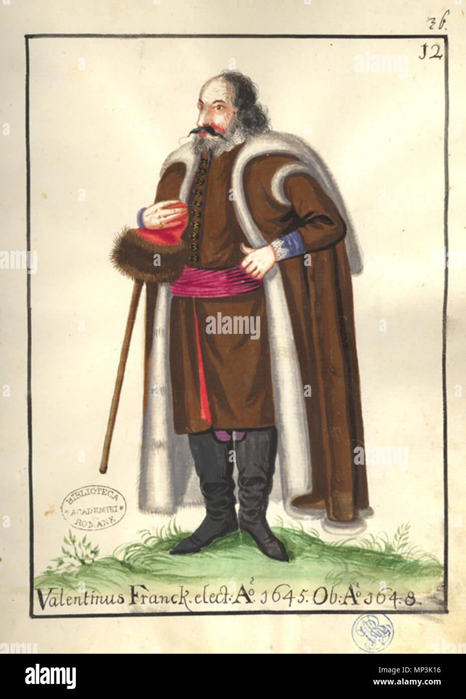 1202 Trachten-Kabinet von Siebenbürgen - Valentin Franck wählen, Ao. 1645. Ob ein. Ao. 1648 Stockbild