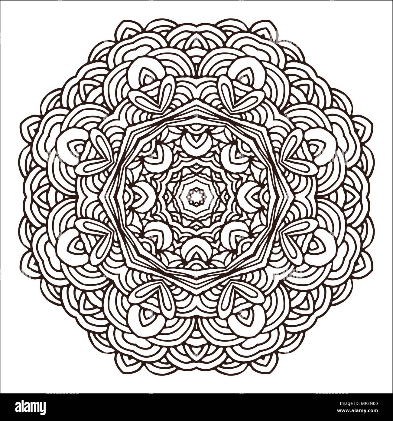 Hand Gezeichnet Mandala Bunt Geometrische Kreis Motiv Fur Design