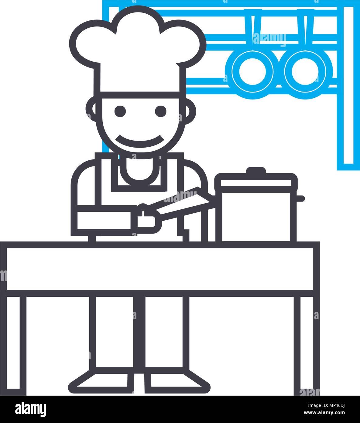 Küche Personal lineare Symbol Konzept. Küche Personal line Vektor