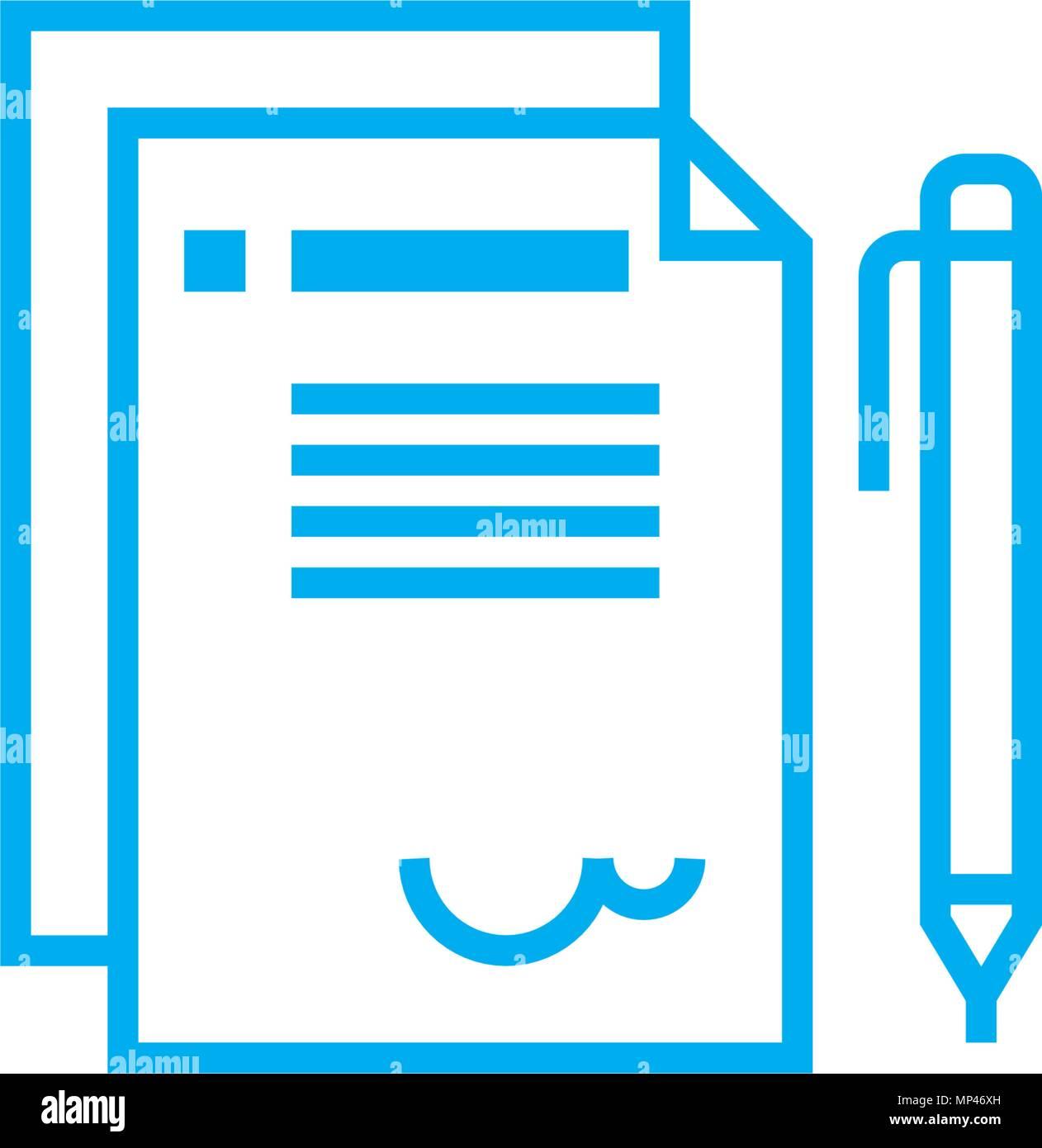 Offizielles Schreiben Lineare Symbol Konzept Offizielles Schreiben