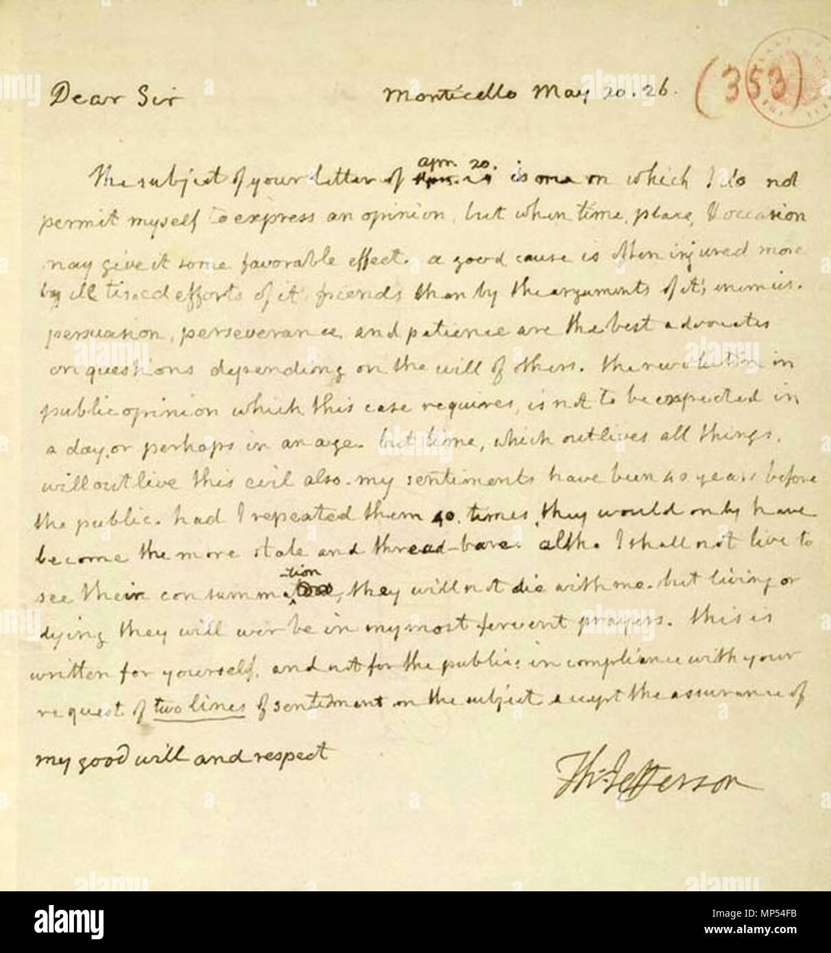 Englisch Foto Bild Von Einem Brief Von Thomas Jefferson James