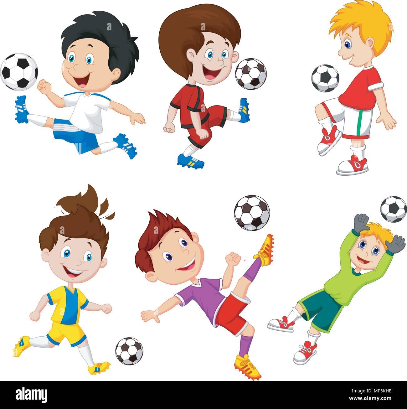 Cartoon Wenig Junge Spielt Fussball Vektor Abbildung Bild