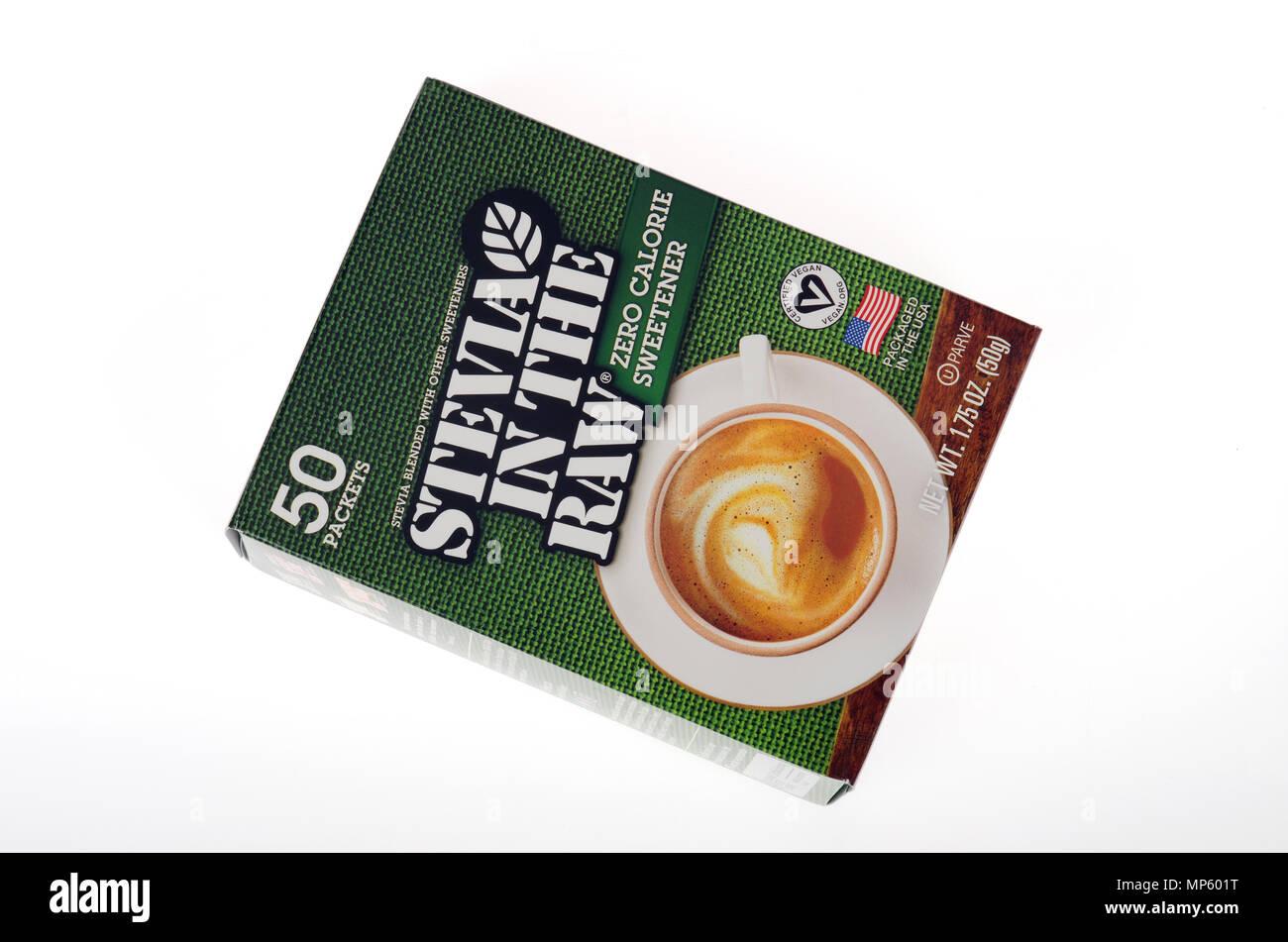 Box von Stevia in der Rohstoffe natürlicher Süßstoff Zucker alternative mit null Kalorien Stockbild