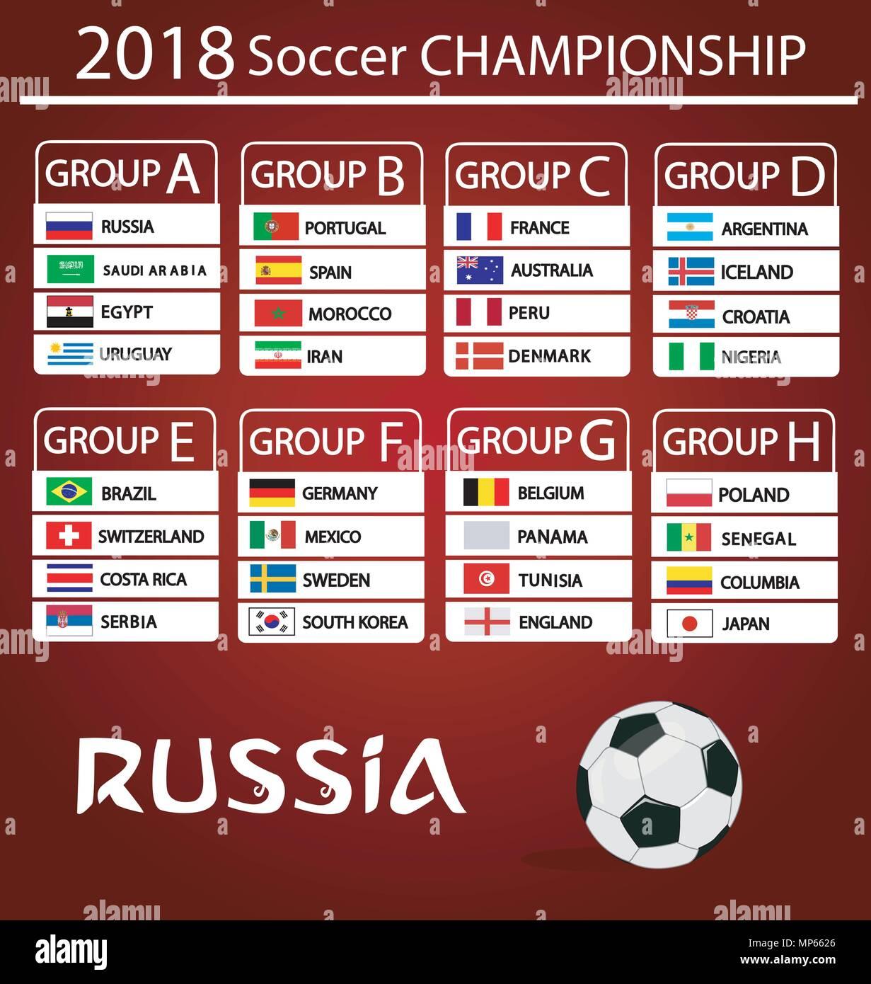 Fussball Wm Gruppen Vektor Landerflaggen Vektor Abbildung