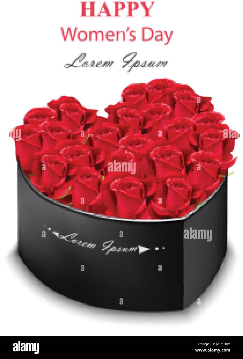 Rote Rosen Black Box Herzform Vektor Realistische Detaillierte