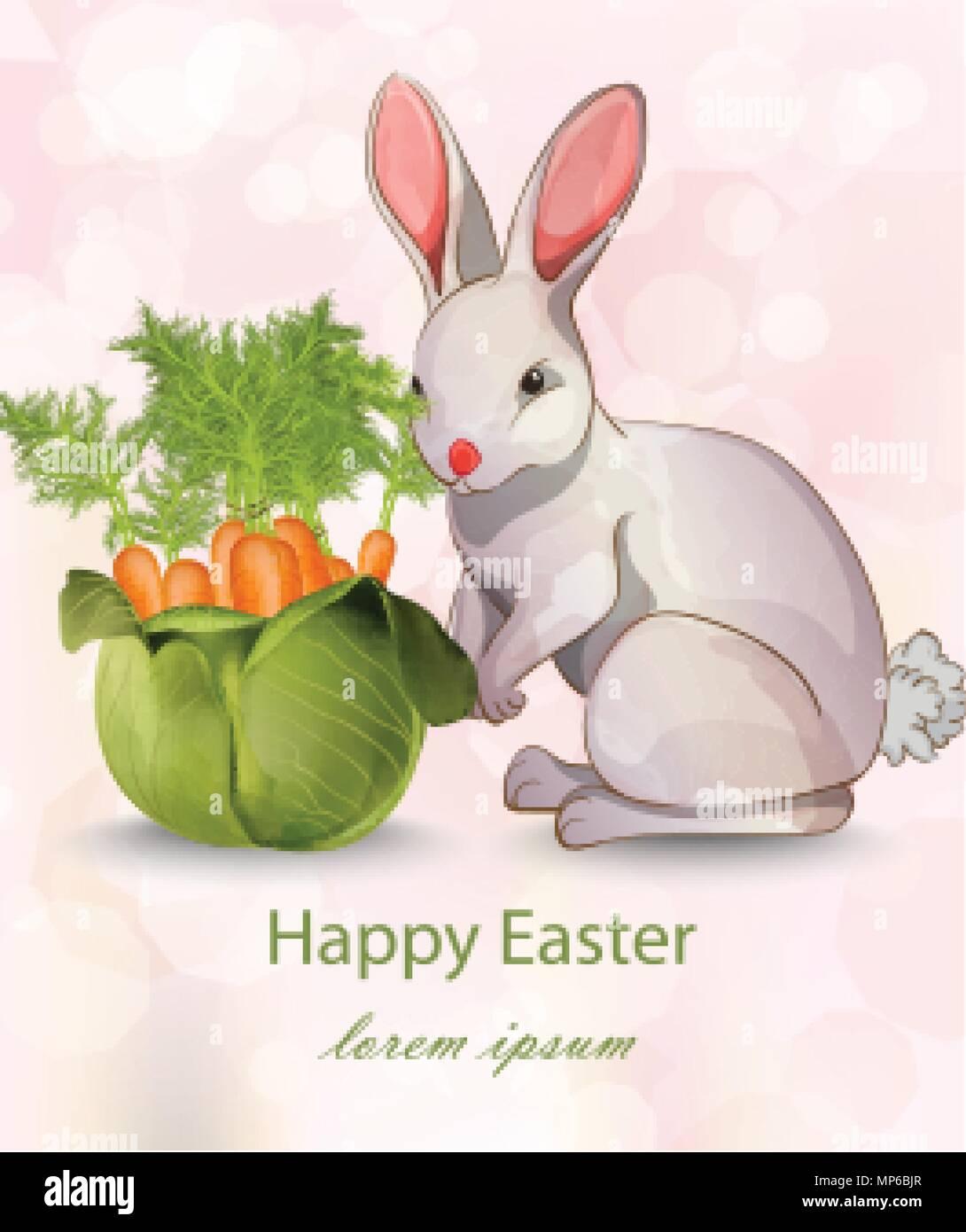 Frohe Ostern Karte.Frohe Ostern Karte Mit Kaninchen Und Karotten Vektor Grune