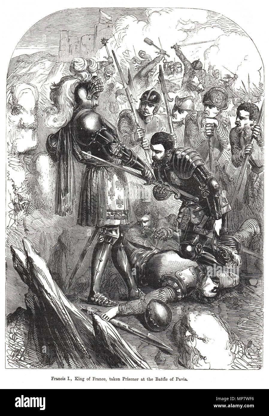 Die Erfassung von Franz I., König von Frankreich, gefangen in der Schlacht von Pavia, 24. Februar 1525 Stockbild