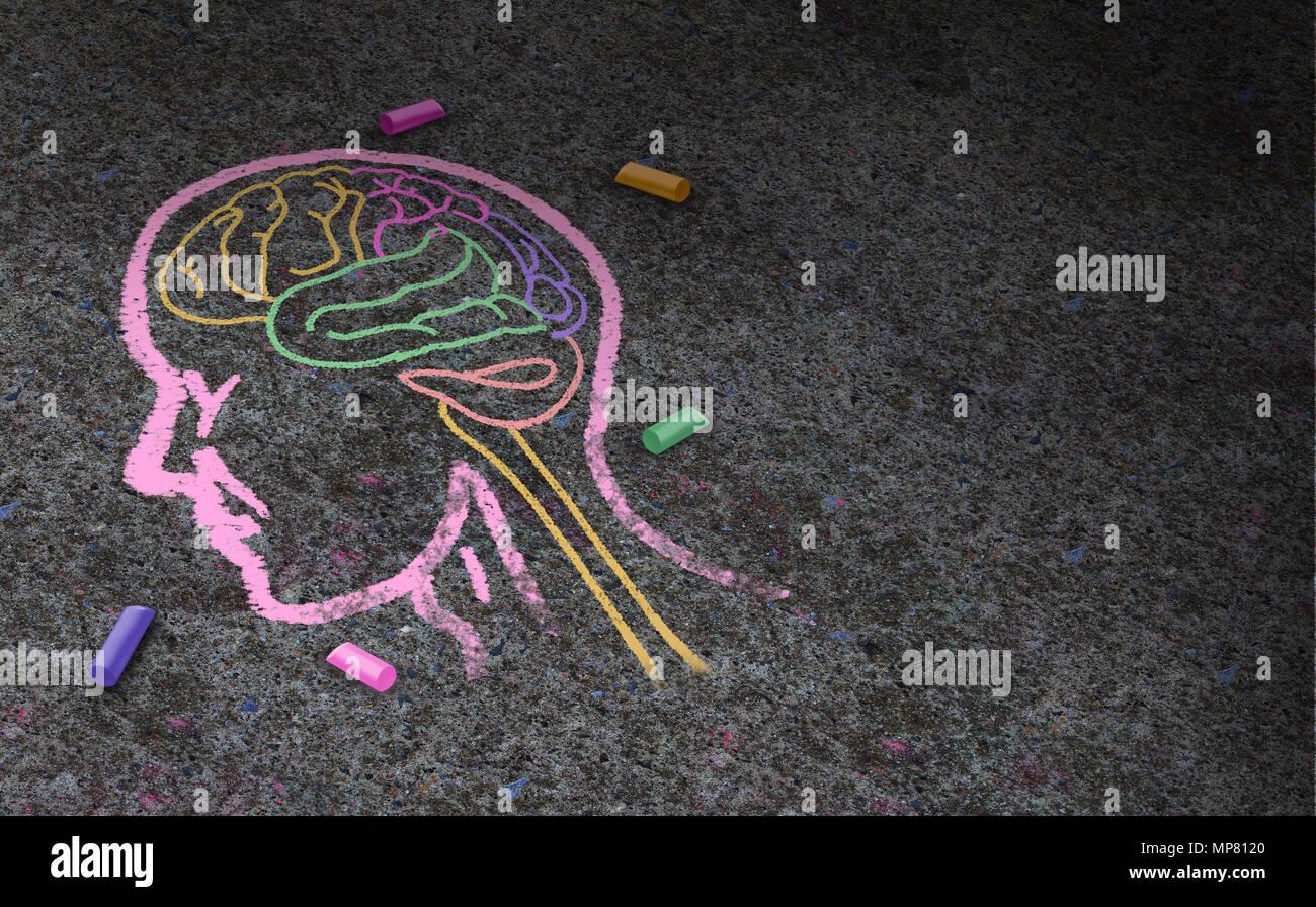 Konzept des Autismus und autistischen Entwicklungsstörungen als Symbol einer Kommunikations- und Sozialpsychologie als kreidezeichnung auf Asphalt in einem 3. Stockbild