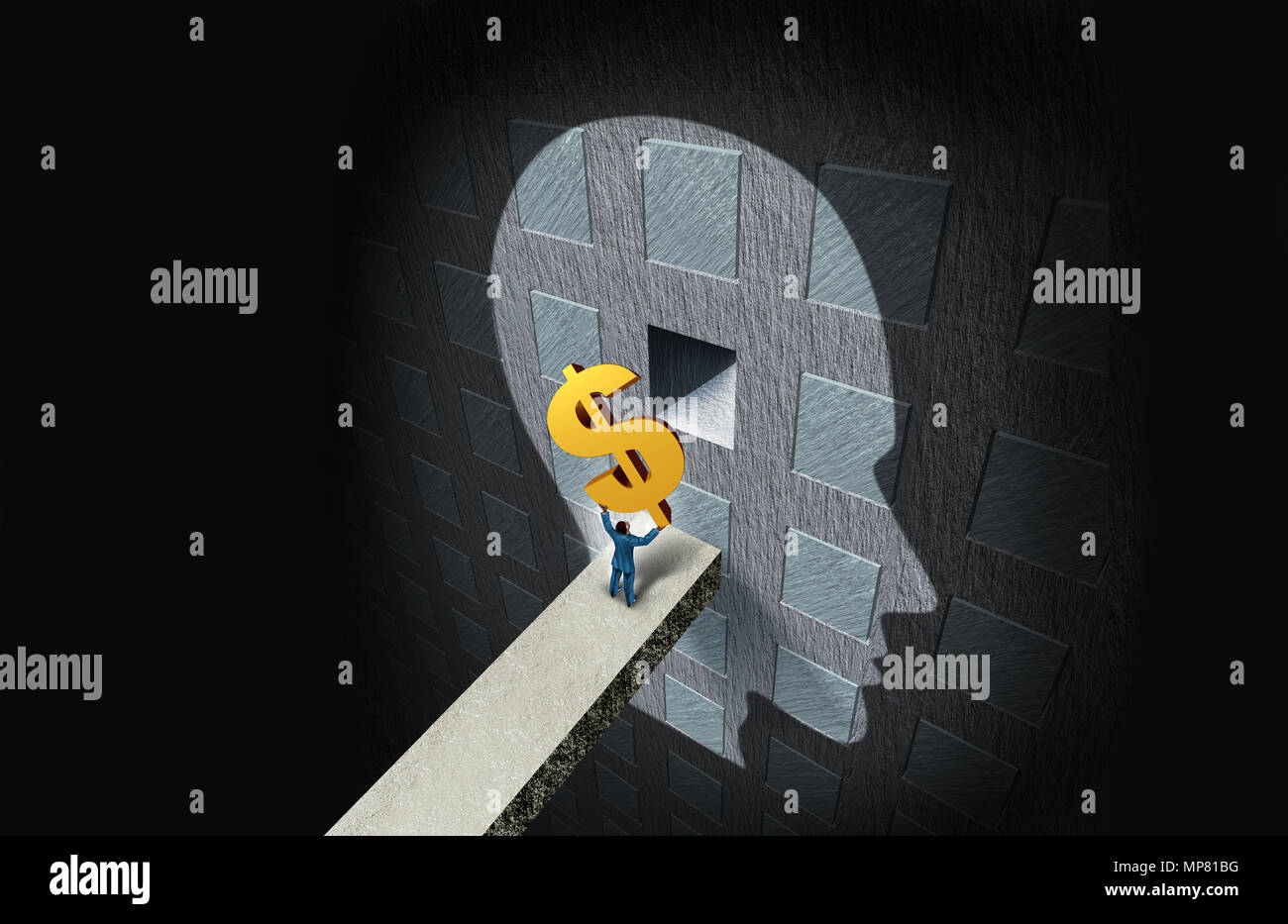 Wirtschaftspsychologie Konzept und Reichtum denken oder finanzielle Bildung und Psychiatrie oder Psychologe gebühren Symbol mit 3D-Illustration Elemente. Stockbild