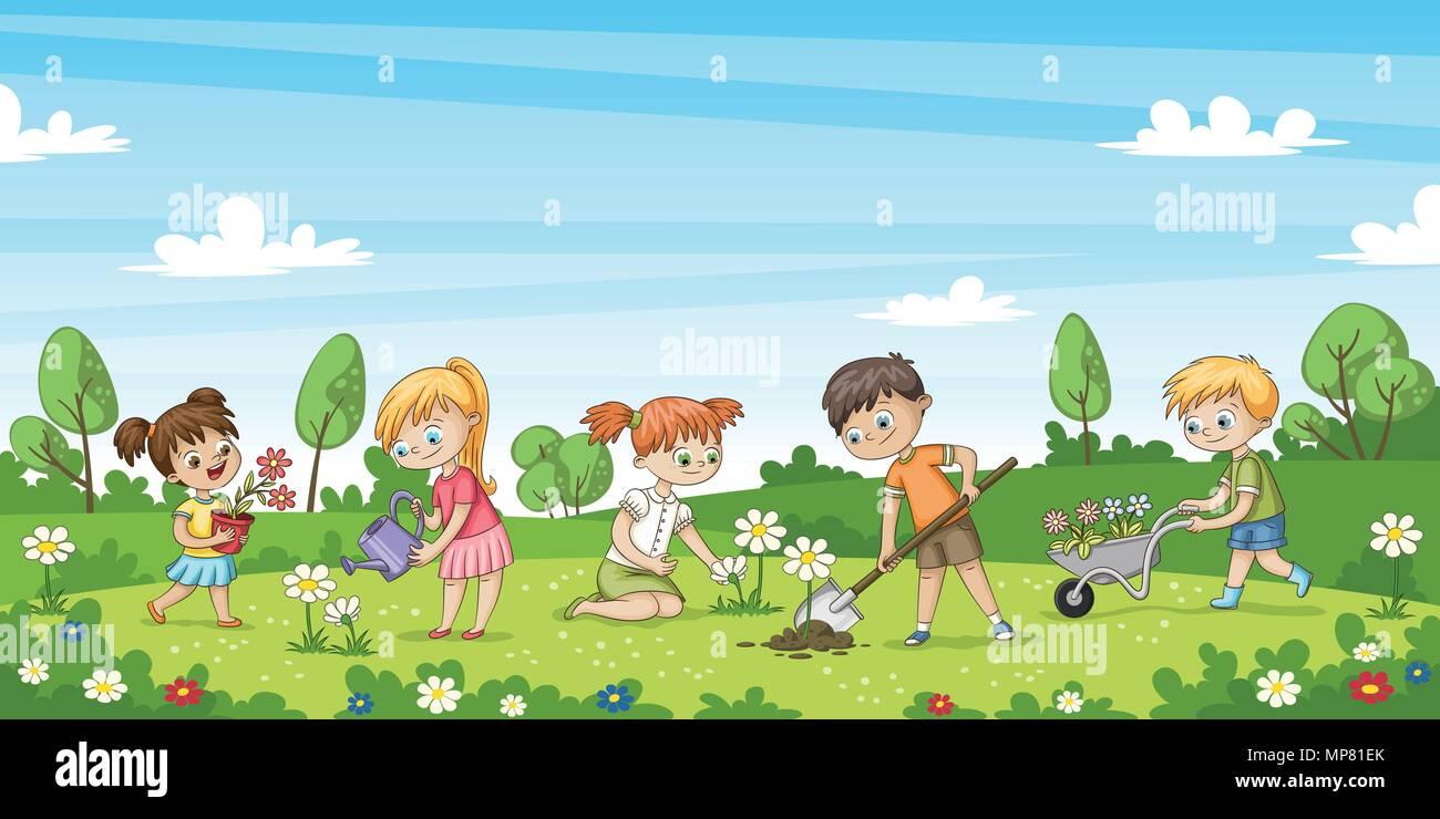 S e kinder arbeiten im garten lustige cartoon charakter for Garten arbeiten