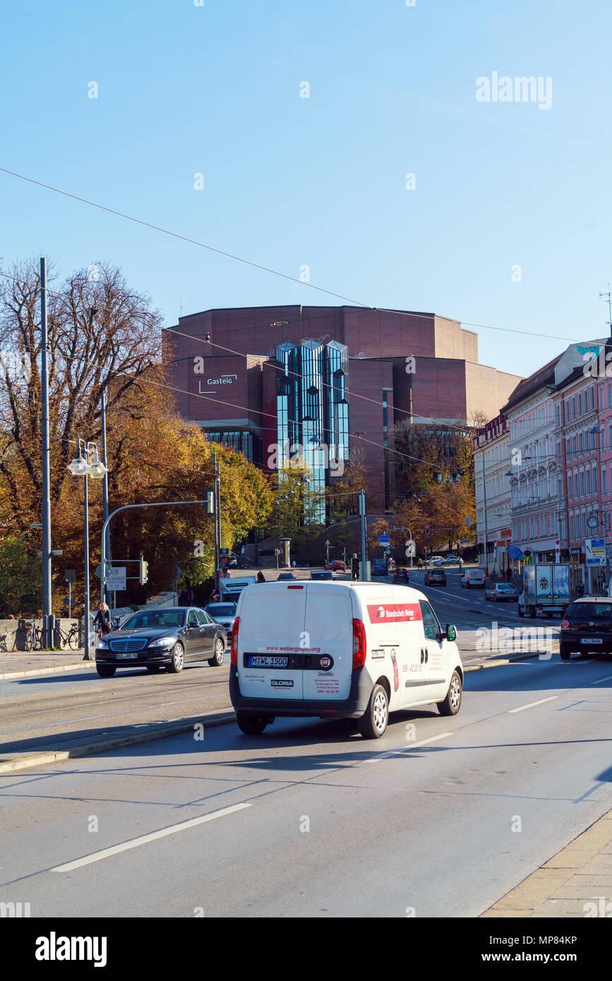 München, Deutschland - 20. Oktober 2017: Kulturzentrum Gasteig, Gastgeber der Münchner Philharmoniker, Filmfest und Biennale Stockbild
