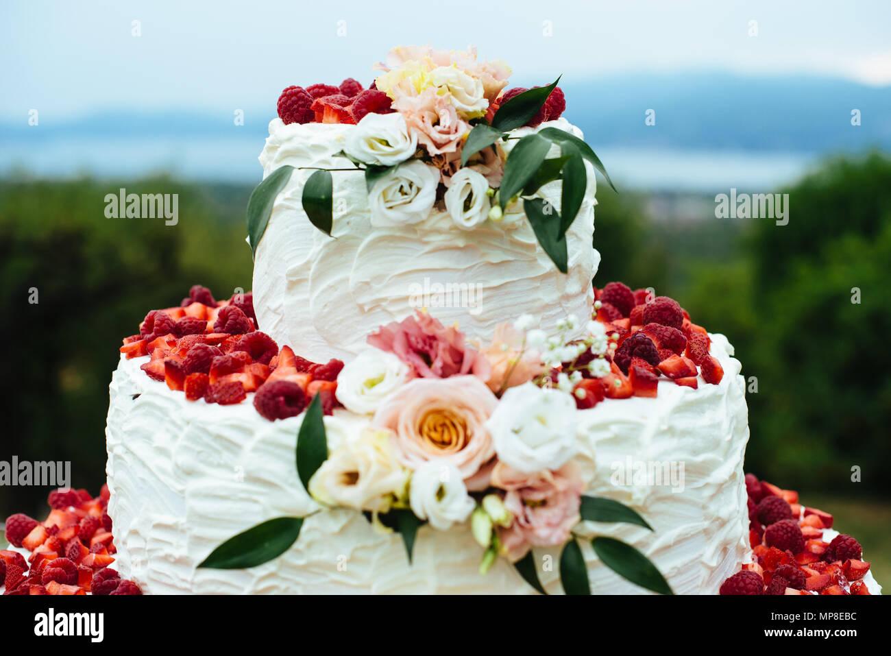 Sahne Und Erdbeeren Hochzeitstorte Draussen Im Garten Mit Blumen