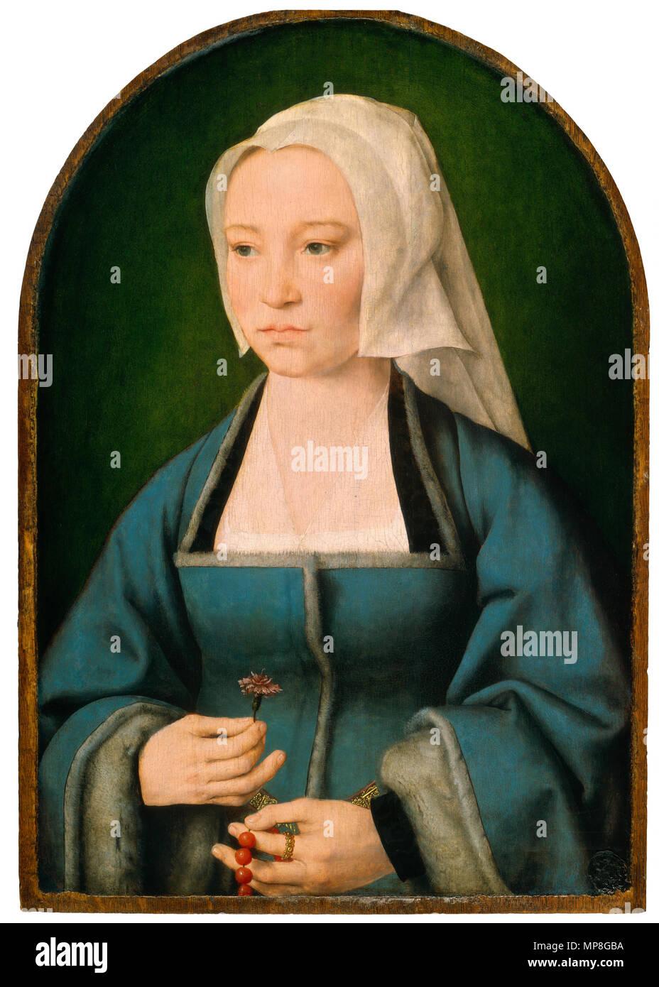 Malerei; Öl auf Leinwand; bemalte Fläche: 55,1 x 37,2 cm (21 11/16 x 14 5/8 in.) Insgesamt (Panel, oben gerundet): 57,1 x 39,6 cm (22 1/2 x 15 9/16 in.) gerahmt: 66 x 48,9 cm (26 x 19 1/4 in.);. Margaretha Boghe, Ehefrau von Joris Vezeleer. ca. 1518. 737 Joos van Cleve 012 ein Stockbild