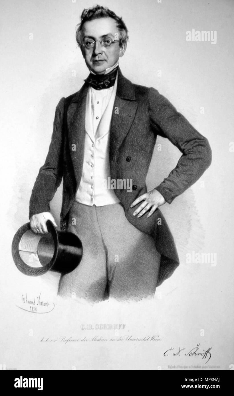 . Deutsch: Karl Damian von Schroff (1802-1887), Dr. med., Professor, Pharmakolöge, Lithographie von Eduard Kaiser, 1850. 1850. Eduard Kaiser (1820-1895) 758 Karl Damian Schroff Litho 2 Stockfoto
