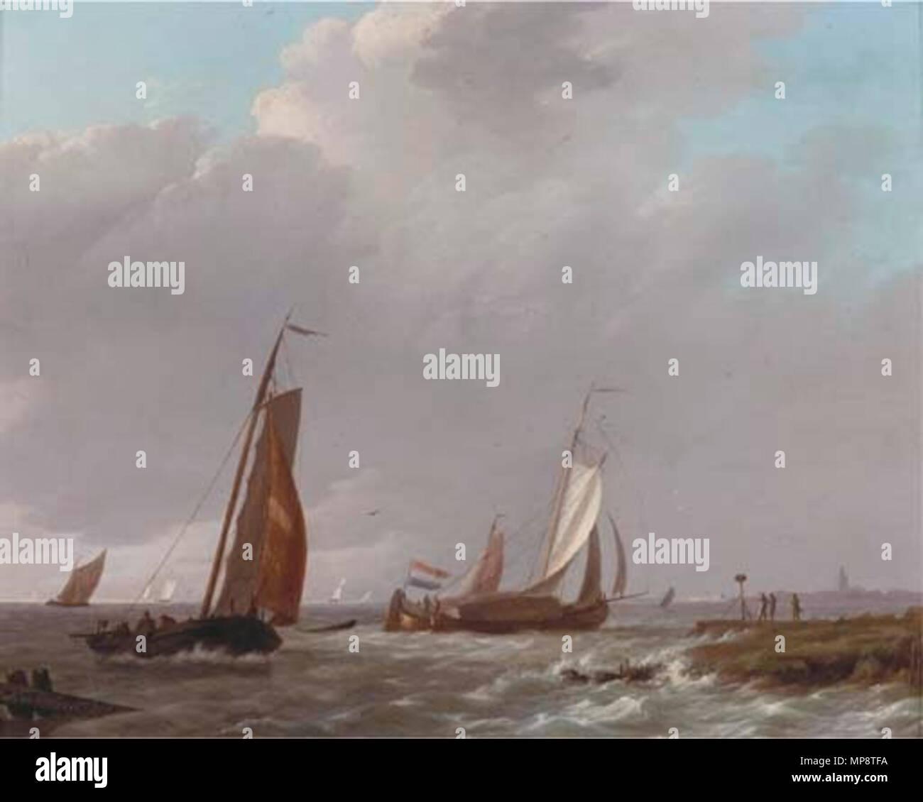 Liefer- in eine steife Brise vor der niederländischen Küste. 771 Johannes Koekkoek, Schepen in een stevige Bries Stockbild