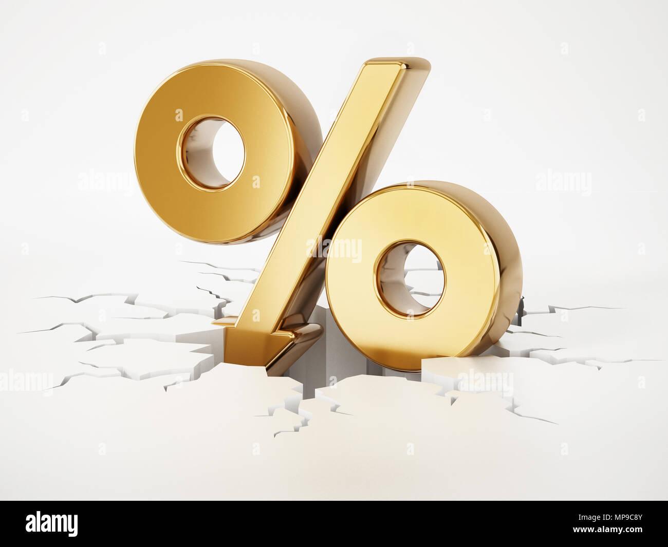 Prozentsatz Symbol mit dem Pfeil auf Risse im Boden. 3D-Darstellung. Stockbild