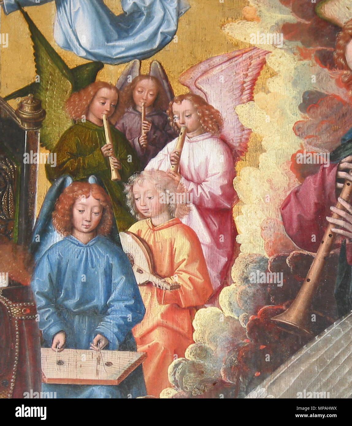 Englisch: Maria, Königin des Himmels, oben rechts Detail: Musik ...