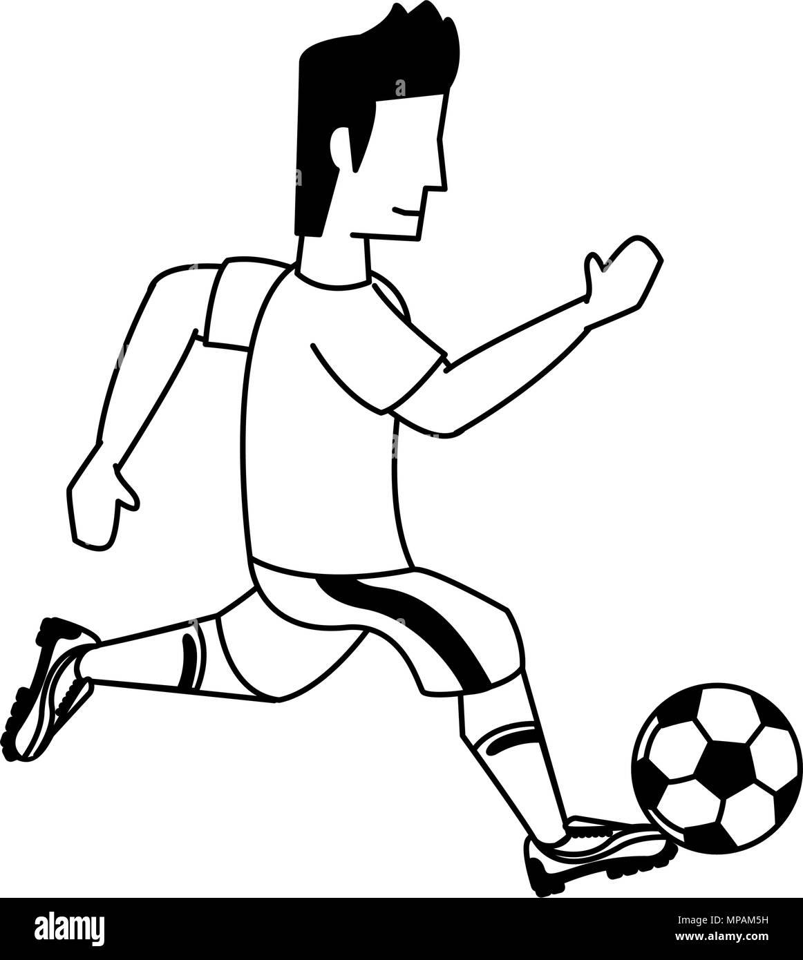 Fussball Spieler Cartoon In Den Farben Schwarz Und Weiss