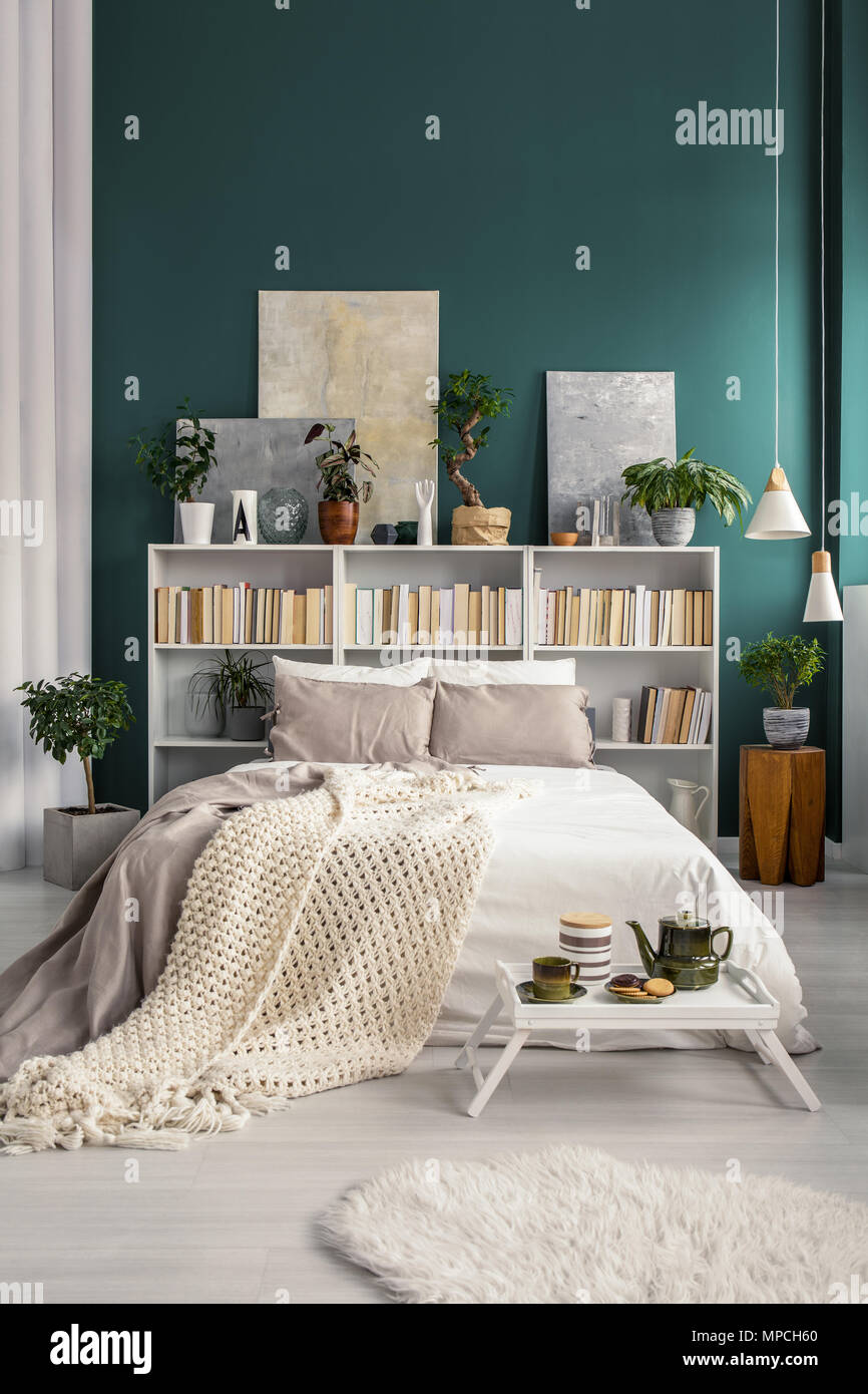 Weiß Home Bibliothek Mit Grauen Bildern Und Pflanzen In Einem Natürlichen  Und Geräumigen Schlafzimmer Innenraum Mit Türkis Grüne Wand