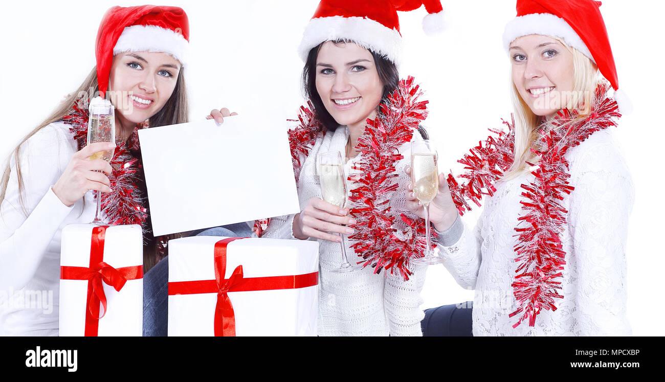 Frauen Geschenke Zu Weihnachten.Drei Junge Frauen In Hüte Von Santa Claus Mit Weihnachten Geschenke