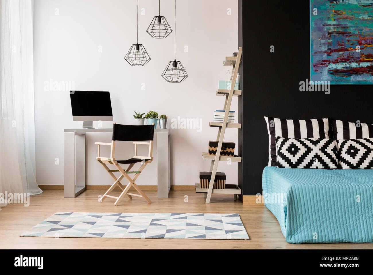 Neuen Stil Schwarze Und Weiße Zimmer Mit Schlaf Und Arbeitszimmer