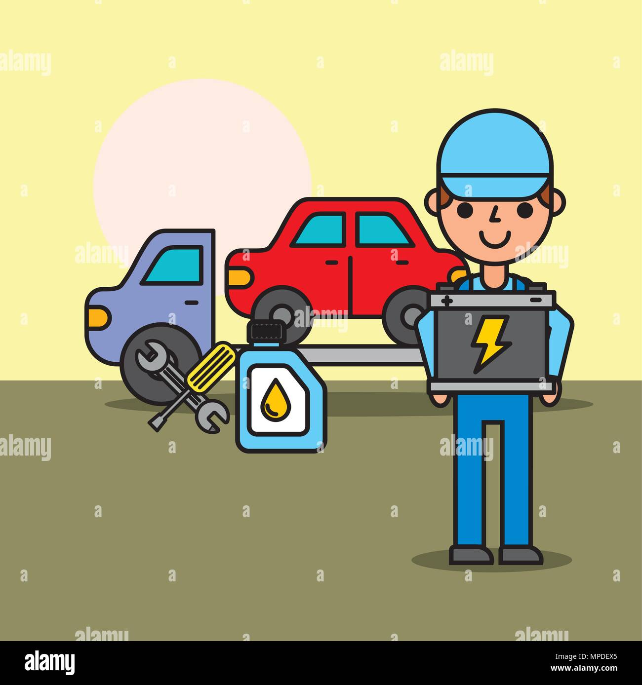 Arbeitnehmer Abschleppwagen car service Batterie öl Flasche Stockbild