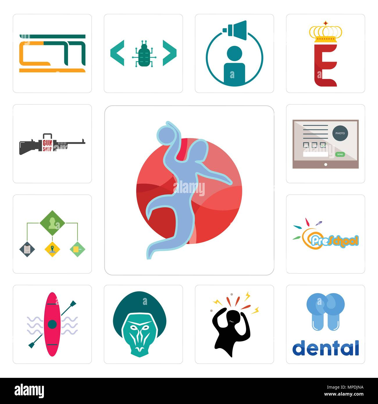 Satz Von 13 Einfache Editierbare Ikonen Wie Handball Dental Panik