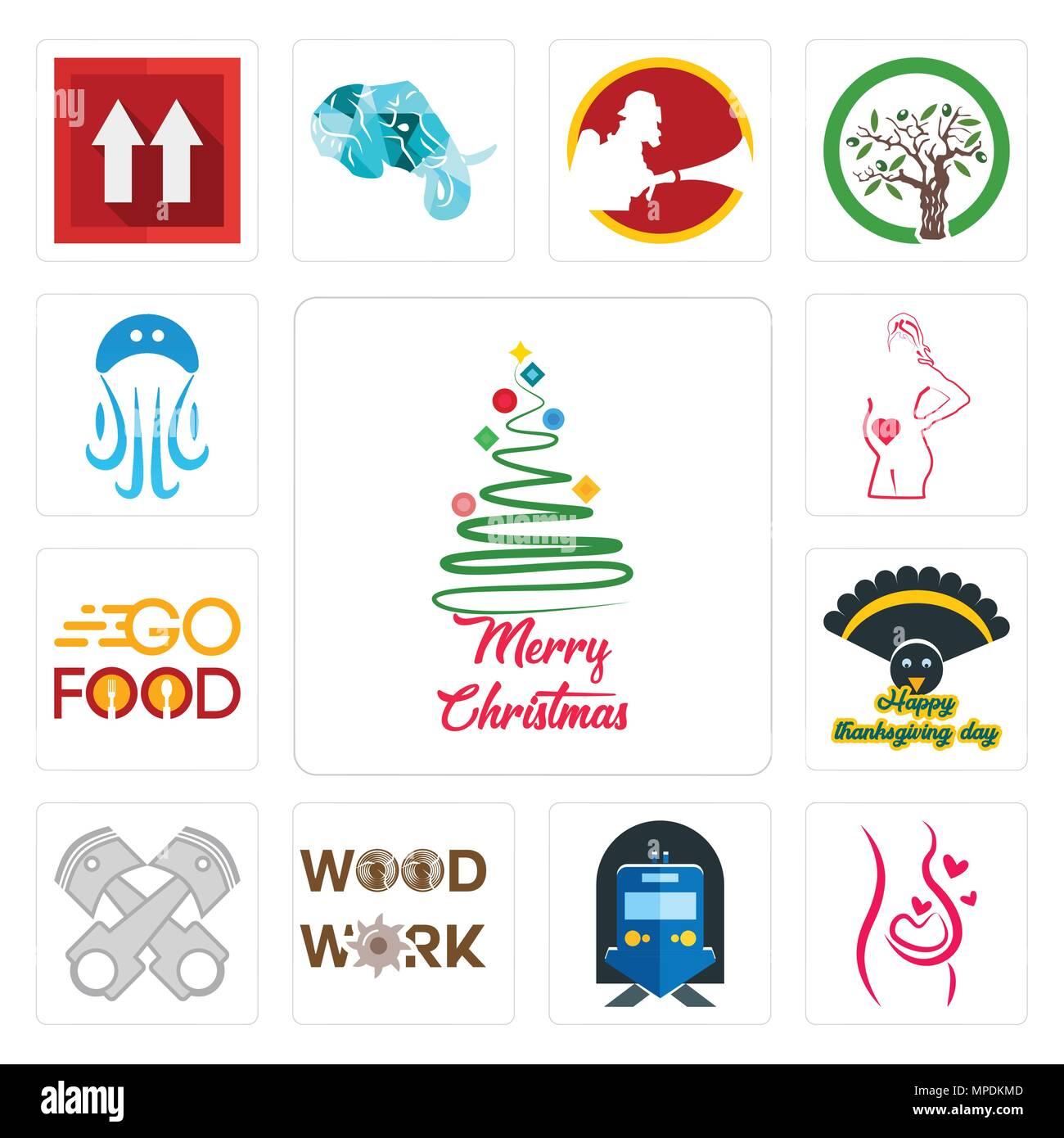 Frohe Weihnachten Philippinisch.Satz Von 13 Einfache Editierbare Ikonen Wie Frohe Weihnachten