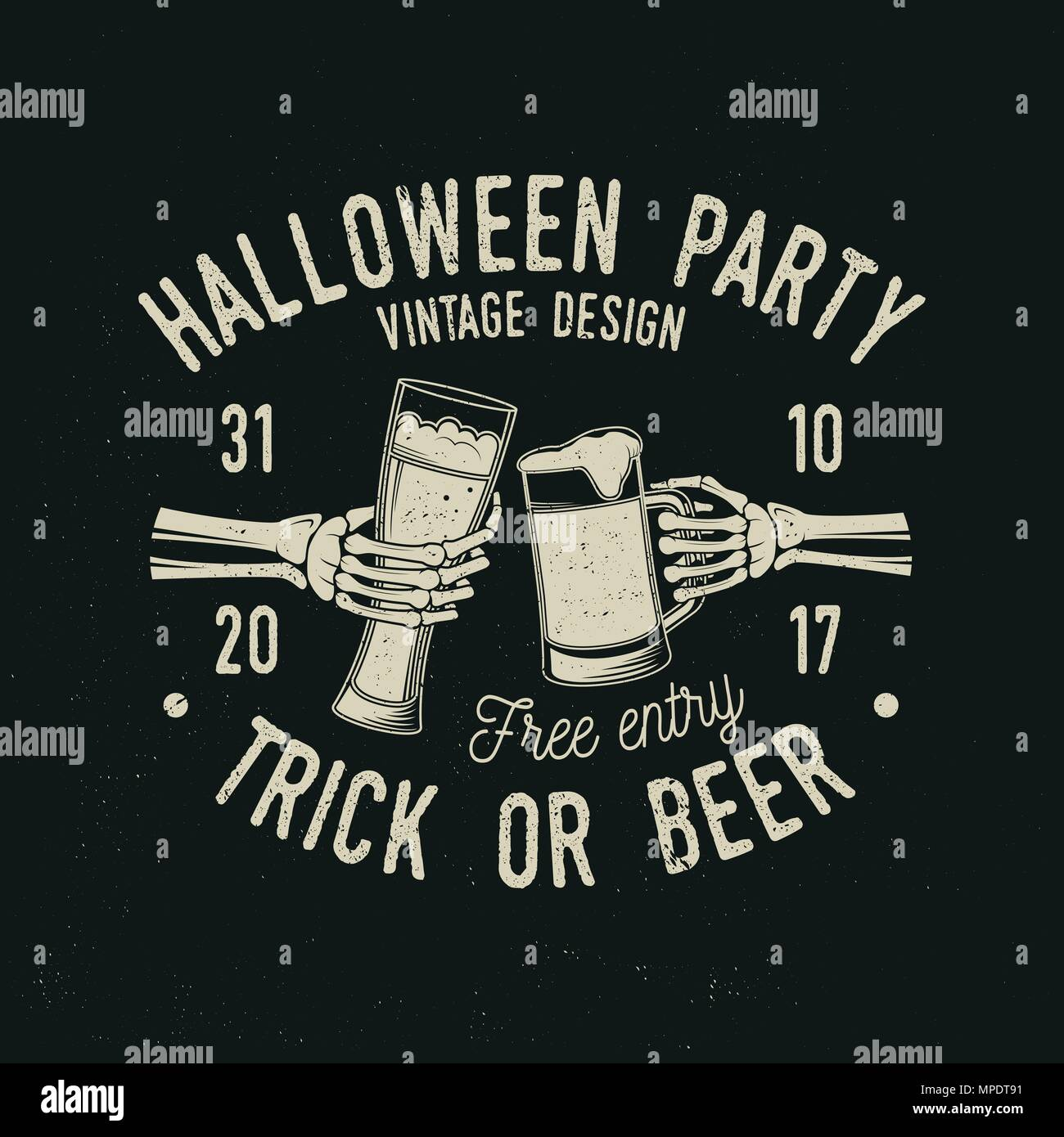 Halloween Bier.Halloween Party Trick Oder Bier Vektor Halloween Retro