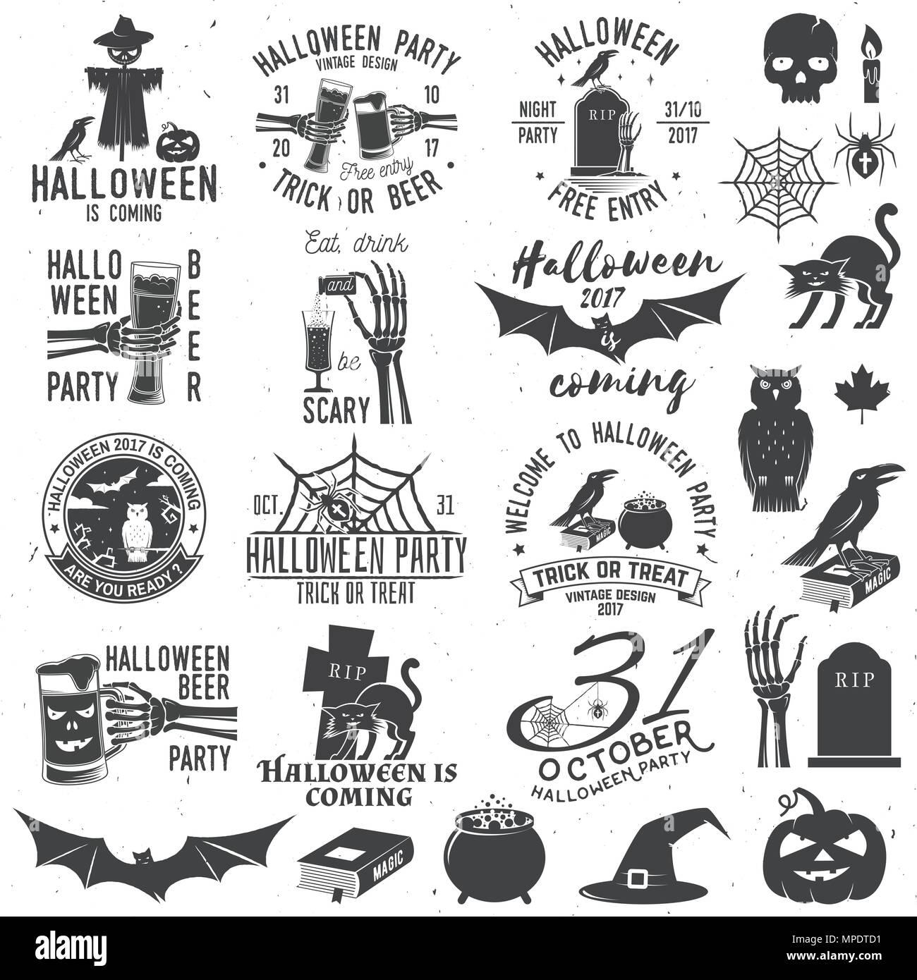 Satz Von Halloween Party Konzept Mit Designelementen Halloween
