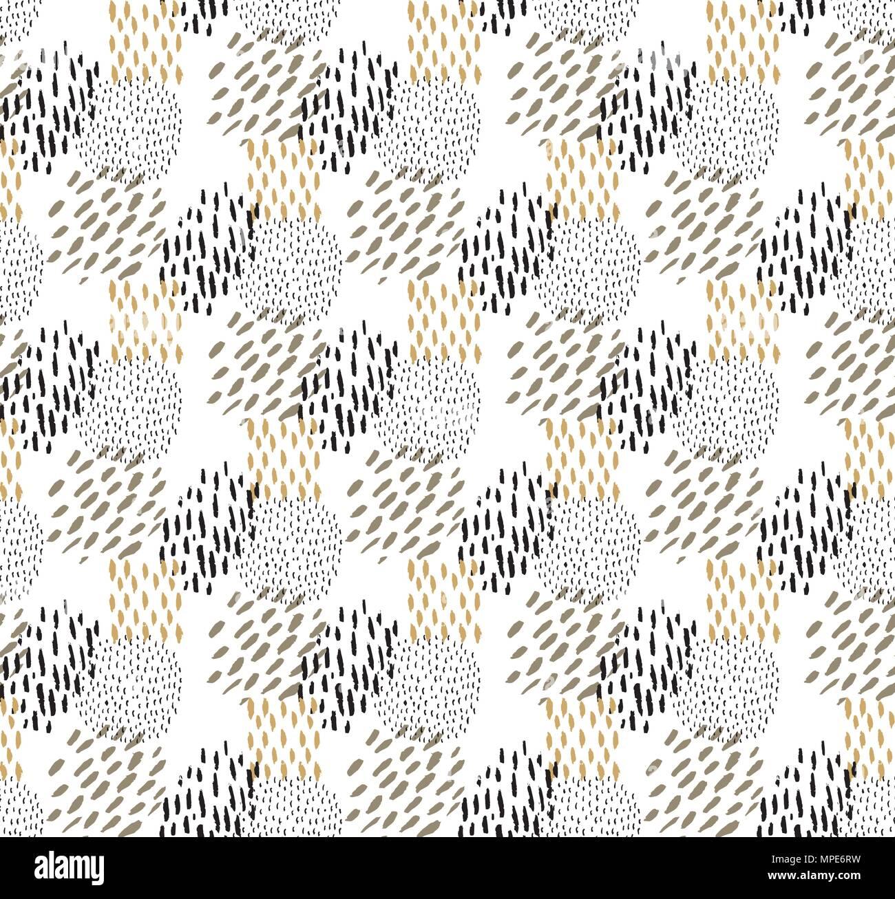 Dots Muster Vektor Schwarz Und Gold Pinselstrich Malen Hintergrund
