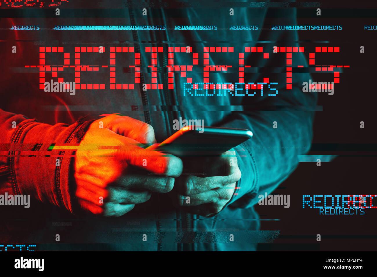Handy leitet malware Konzept, Low Key rot und blau beleuchtete Bild und digitale glitch Wirkung Stockbild
