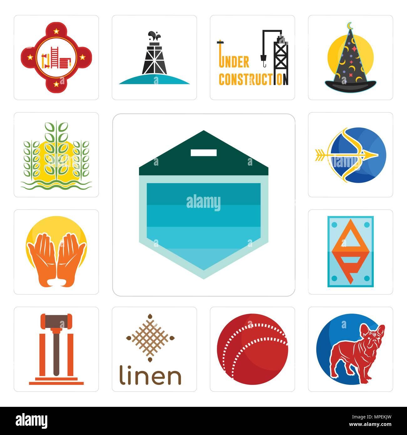 Satz Von 13 Einfache Editierbare Ikonen Wie Garagentor Französische
