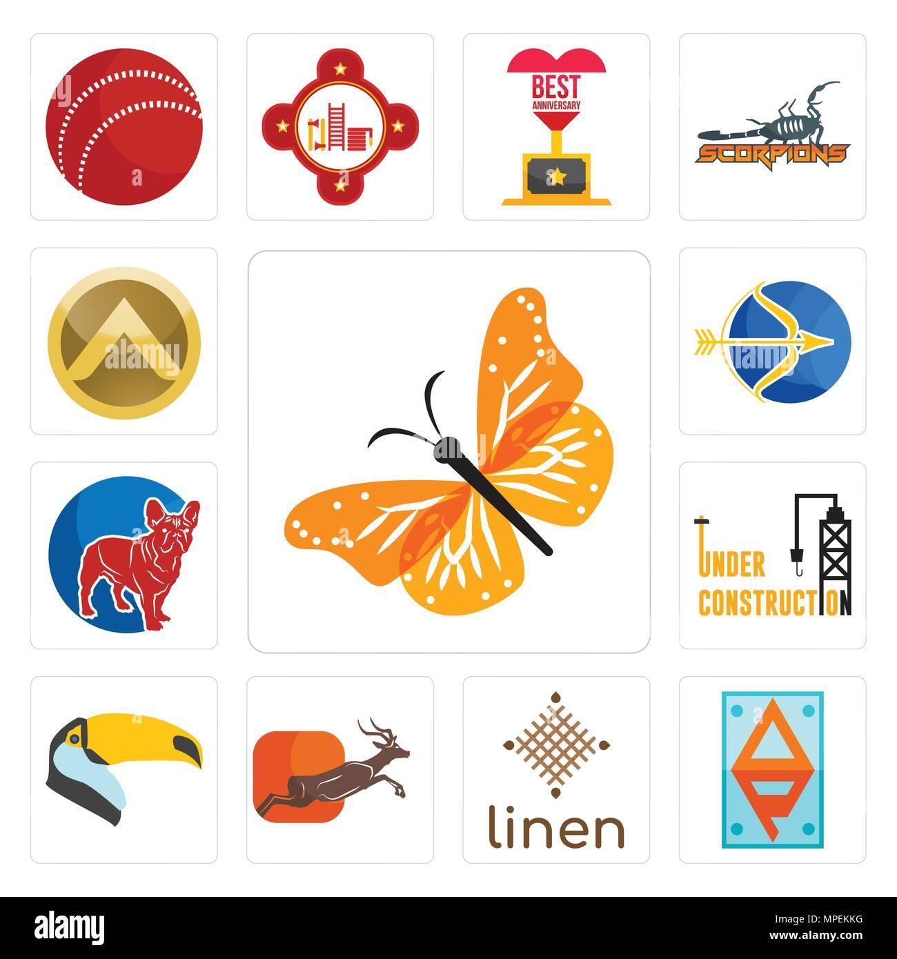 Satz Von 13 Einfache Editierbare Ikonen Wie Monarch Butterfly Ap