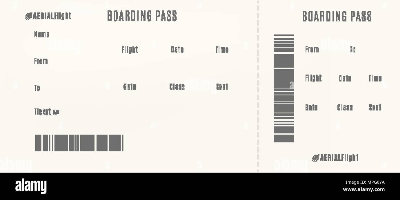 Flugzeug Boarding Pass Vorlage. Leere Flugticket Vektor Abbildung ...