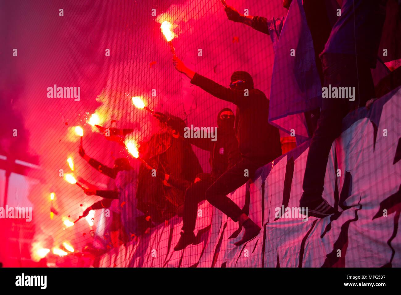 Kiel Deutschland 22 Mai 2018 Kieler Fans Feuerwerk