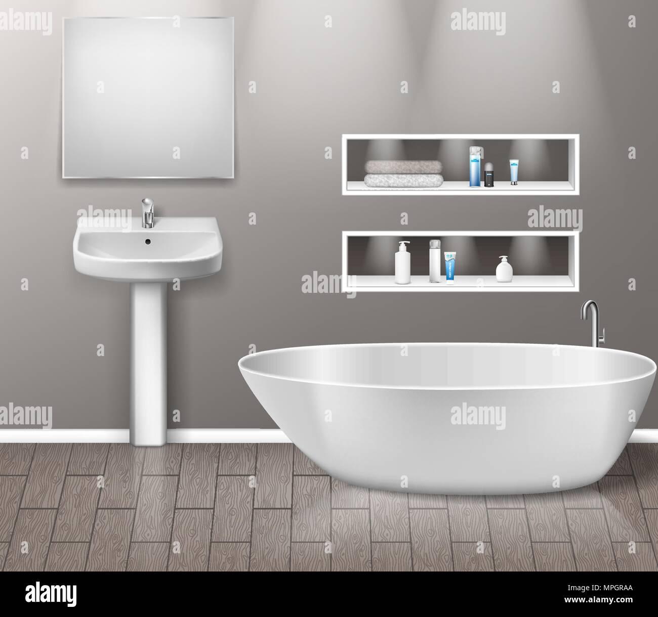 Realistische Badezimmer Möbel Interieur mit modernen Badezimmer ...