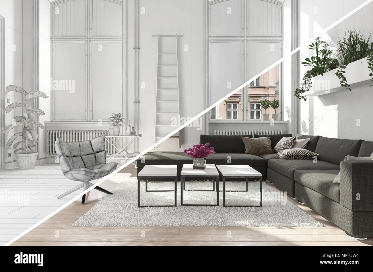 Ein Modernes Wohnzimmer Wohnbereich Mit Einem Diagonalen Split Zwischen  Farbe Und Schwarz Weiß Versionen.