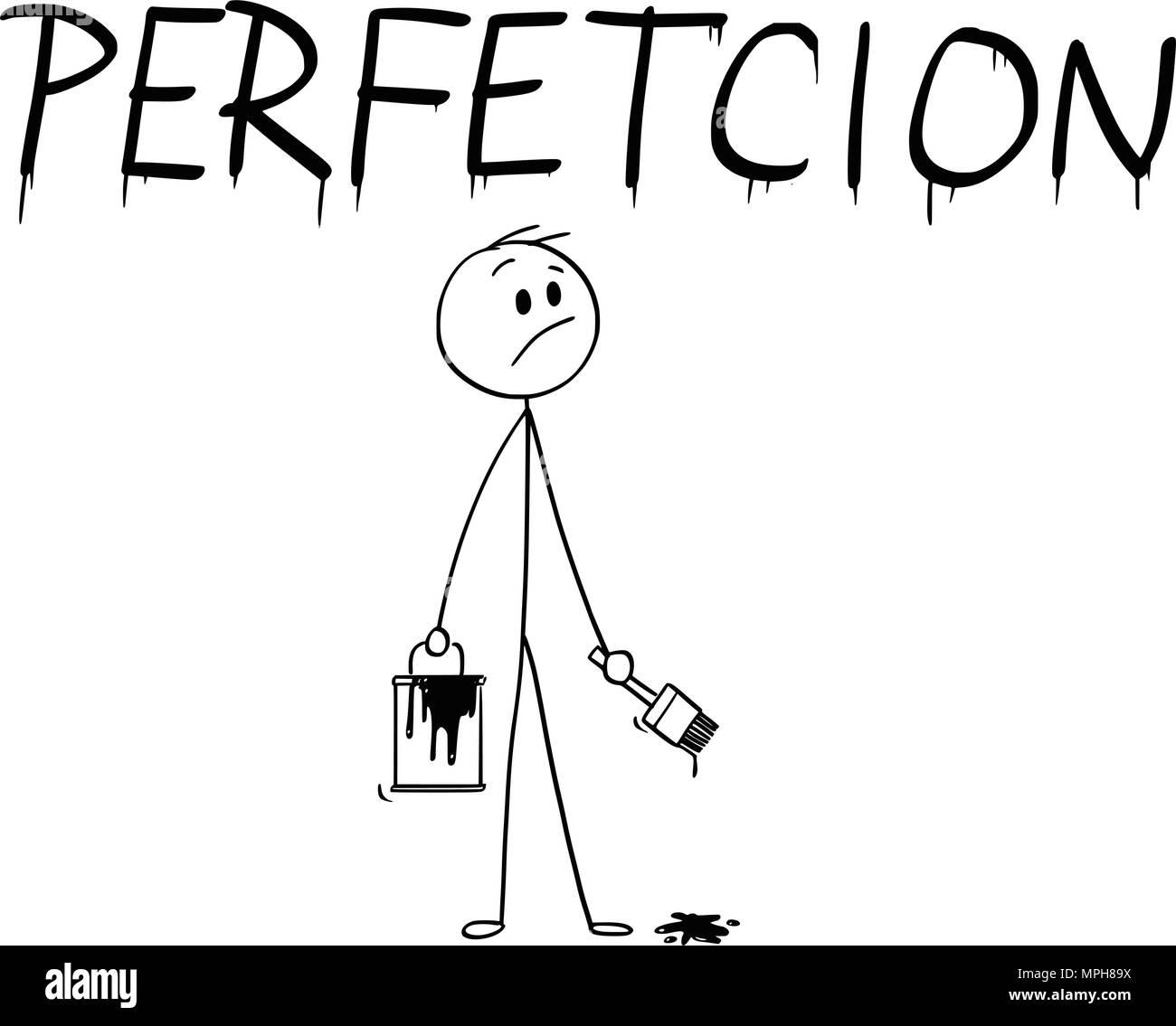 Cartoon von Geschäftsmann mit Pinsel und Farbe kann Malerei das Wort Perfektion mit Rechtschreibfehler Stockbild