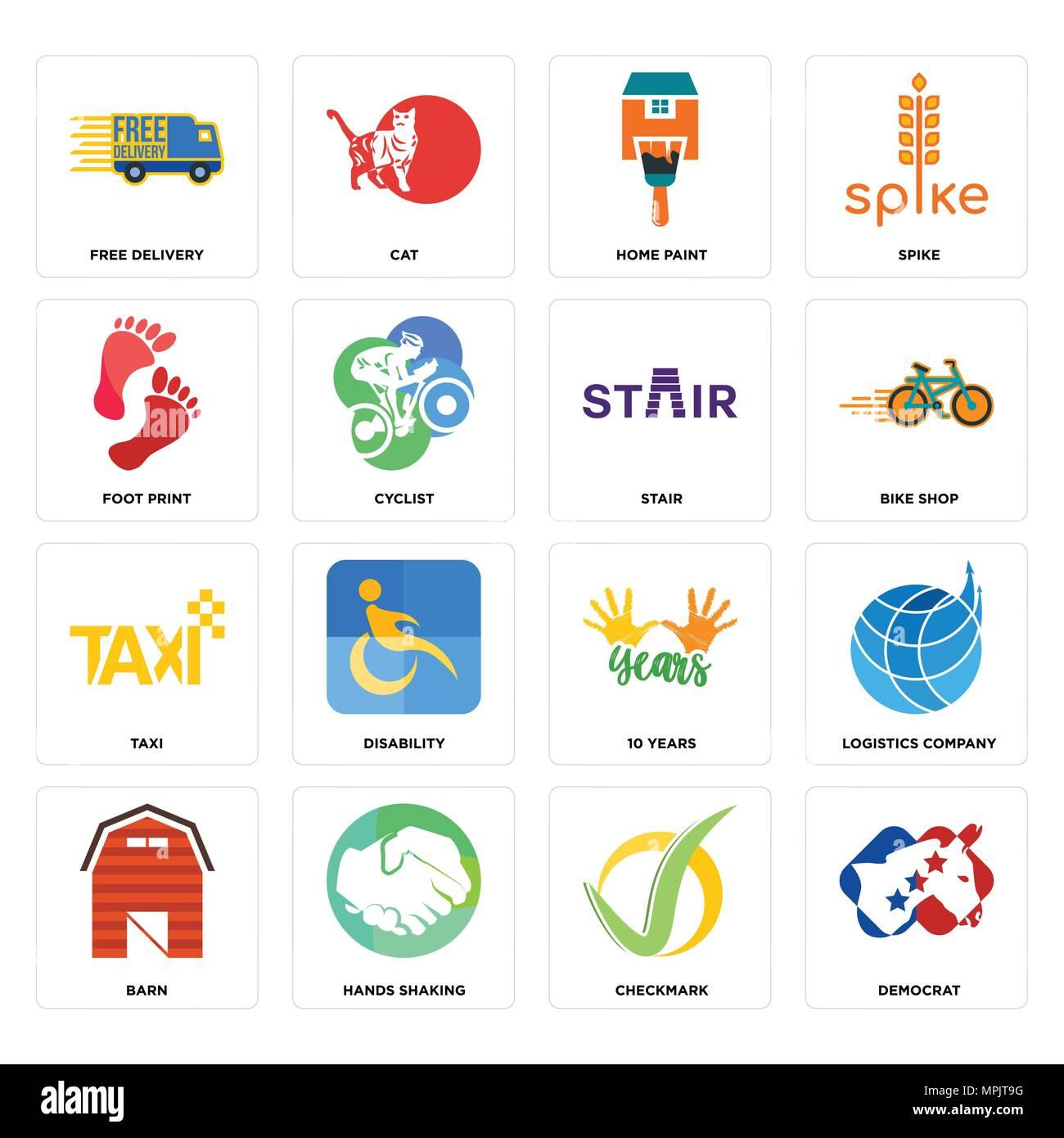16 Einfache editierbare Ikonen wie Demokrat, Haken, Hände schütteln ...